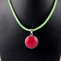 Great Design !! Red Aventurine 925 Sterling Silver Pendant