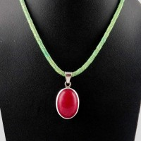 Path Of Life !! Red Aventurine 925 Sterling Silver Pendant