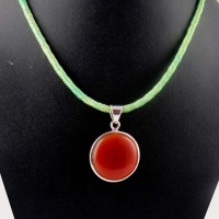Path Of Life !! Red Onyx 925 Sterling Silver Pendant