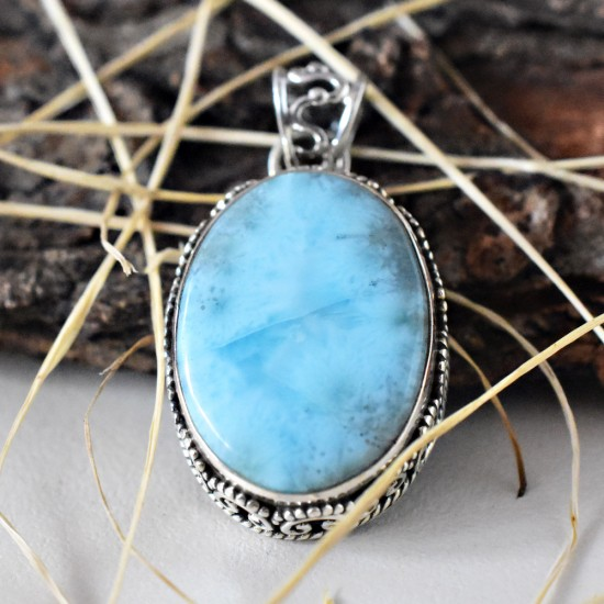 Oval Shape Larimar Handcrafted 925 Sterling Silver Pendant