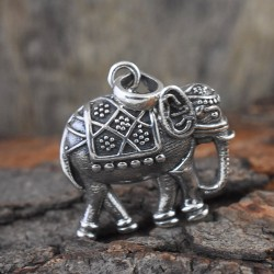 Elephant Plain Silver 925 Sterling Silver Pendant