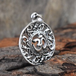 Round Aum Silver 925 Sterling Silver Pendant