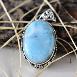 Top Quality Larimar 925 Sterling Silver Pendant