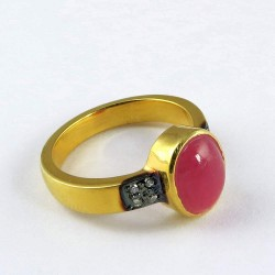 Love Victory !! Gold Plated Ruby, CZ 925 Sterling Silver Ring