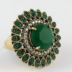 Looking Wow Green Onyx !! 925 Sterling Silver Ring With Brass