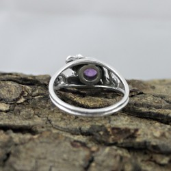 Amazing Amethyst Round Cabochon 925 Sterling Silver Ring