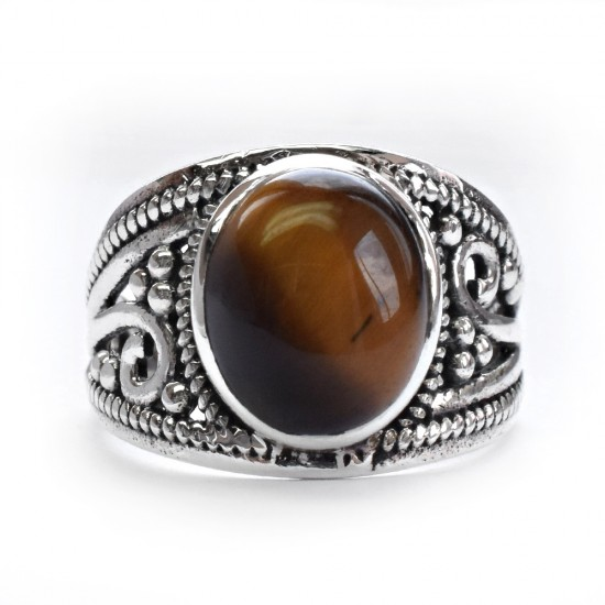 Amazing Tiger Eye Cabochon 925 Sterling Silver Ring