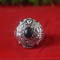 Black onyx 925 Sterling Silver Poison Ring!!