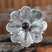 Blossom Amethyst Cabochon 925 Sterling Silver Ring Free Size