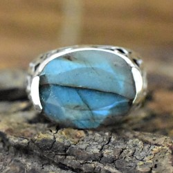 Blue Arc Labradorite 925 Sterling Silver Ring