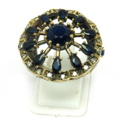 Back to Nature !! Blue Onyx White CZ Silver Jewelry Ring Turkish Silver Jewelry