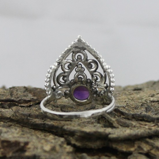 Delightful Amethyst Round Cabochon 925 Sterling Silver Ring