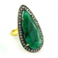 Rings In Fashion Dyed Emerald_White CZ 925 Sterling Silver Ring