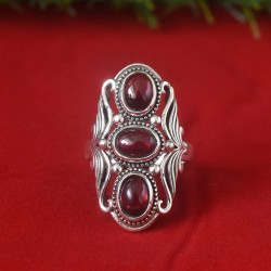 Red Garnet Gemstone 925 Sterling Silver Ring