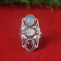 Garnet Rainbow Moonstone Chalcedony Sterling Silver Ring!!