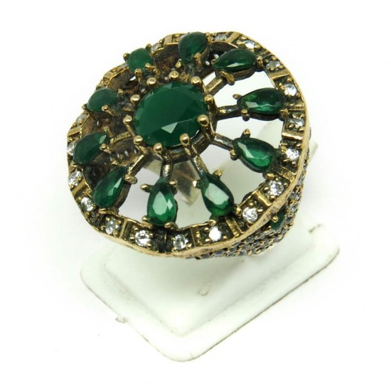 Classy Design !! Green Onyx CZ Silver Jewelry Ring Turkish Silver Jewelry