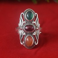 Green Onyx Garnet Red Onyx Stones 925 Silver Ring!!