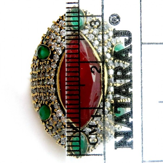Modernista !! Green Onyx, Red Onyx, CZ 925 Sterling Silver Ring With Brass