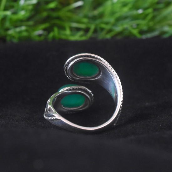 Green Onyx Stone 925 Sterling Silver Ring