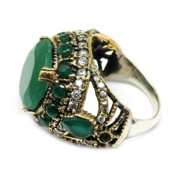 Best Simplicity !! Green Onyx, White CZ 925 Sterling Silver Ring With Brass
