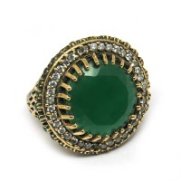 Turkish Jewelry !! Green Onyx, White CZ Sterling Silver Ring With Brass