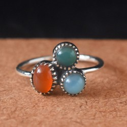 Green Onyx Red Onyx Chalcedony 925 Sterling Silver Ring