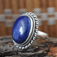 Heavenly Lapis Cabochon 925 Sterling Silver Ring