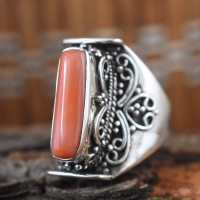 Lab Made Coral 925 Sterling Silver Ring