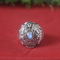 Labradorite Gemstone 925 Sterling Silver Ring!!