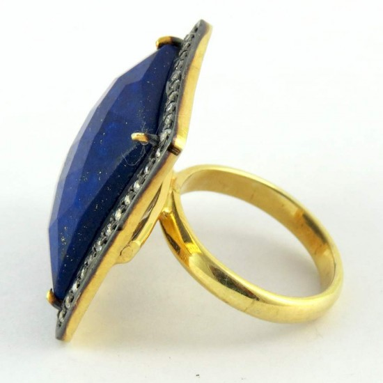 My Perfect Design !! Lapis, White CZ 925 Sterling Silver Ring