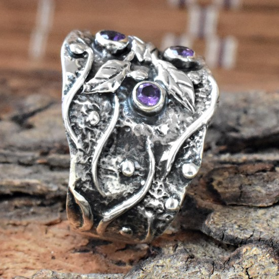 Amethyst Purple Stone 925 Sterling Silver Ring
