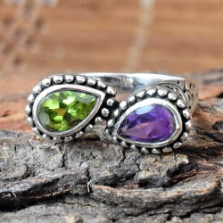 Magnificent Double Gemstone Cut 925 Sterling Silver Ring