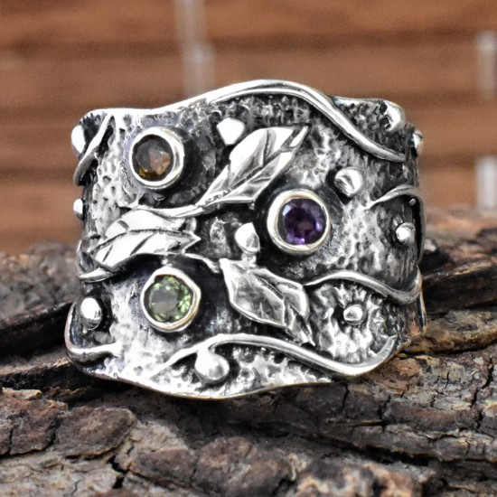 Beautiful !! Peridot, Amethyst, Citrine Stone 925 Sterling Silver Ring