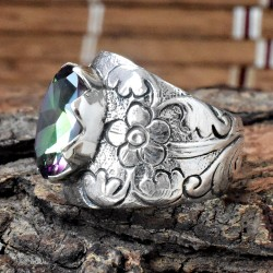 Mystic Quartz Engaved 925 Sterling Silver Ring