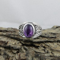 Natural Amethyst 925 Sterling Silver Solitaire Ring