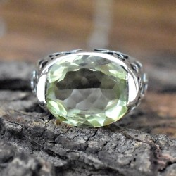 Nice Lemon Topaz Cut Gemstone Silver Ring