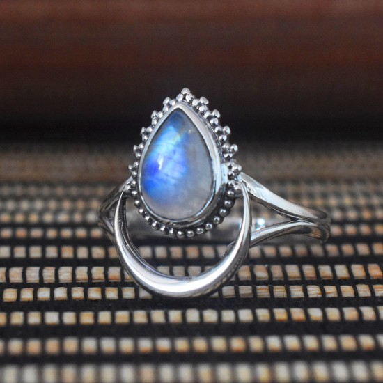 Peacock Feather Rainbow Moonstone 925 Sterling Silver Ring