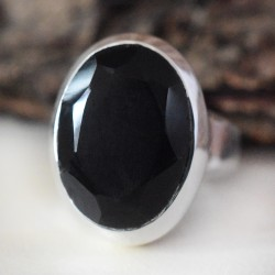 Beautiful !! Black Onyx Stone 925 Sterling Silver Ring