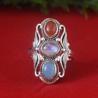 Rainbow Moonstone Red Onyx Chalcedony 925 Sterling Silver Ring