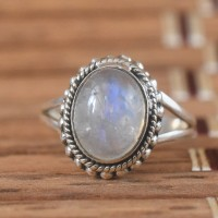 Rainbow Moonstone 925 Sterling Silver Ring!!