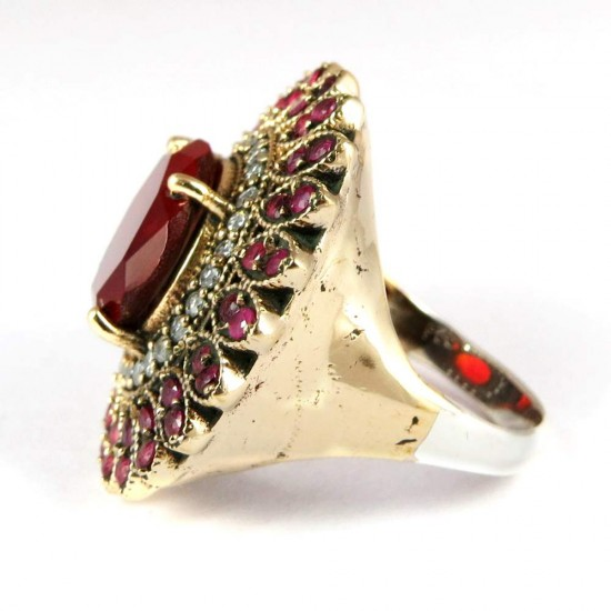 Excellent !! Red Onyx, CZ 925 Sterling Silver Ring With Brass
