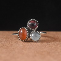 Red Onyx Garnet Rainbow Moonstone 925 Sterling Silver Ring