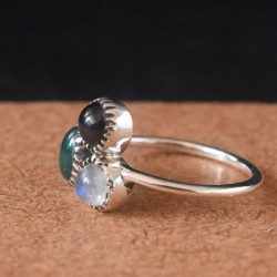Red Onyx Green Onyx Rainbow Moonstone 925 Sterling Silver Ring