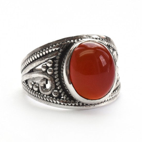 Stunning Red Onyx Cabochon 925 Sterling Silver Ring