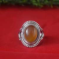 Yellow Onyx 925 Sterling Silver Ring
