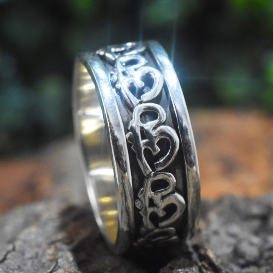 Aum Oxidised 925 Sterling Silver Spinner Band