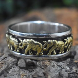 Gold Plated Elephant Fidget 925 Silver Band