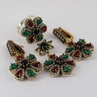 Indian New Design By Designer Today Offer !! Green Onyx, Red Onyx, Blue Onyx, White CZ 925 Silver With Brass