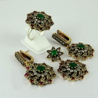 Stunning !! Multistone 925 Sterling Silver Jewellery Set With Brass