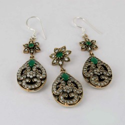 Self Control !! Green Onyx, White CZ 925 Sterling Silver Jewelry Set With Brass